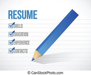 resume check mark list illustration design