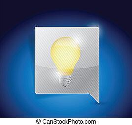 business idea light bulb on a message bubble.