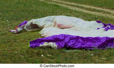 Parachute on the ground after the flight
