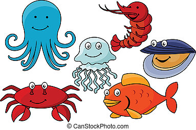 Cartoon sea animals.