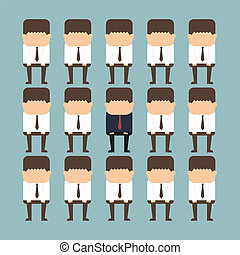 individuality concept of a businessman standing out from the...