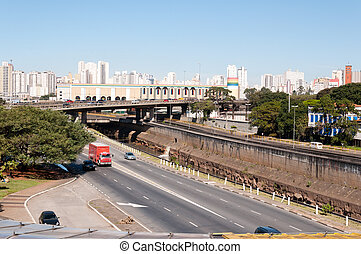 Sao Paulo City - Sao Paulo, east west viaduct and Avenue of...