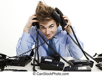 Answering multiple calls at the same time - Young man...