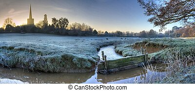 Worcestershire farmland in winter - Floodplains at...