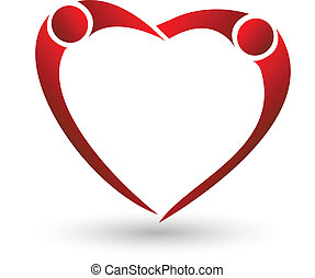 Heart of couple figure logo vector - Heart of couples...