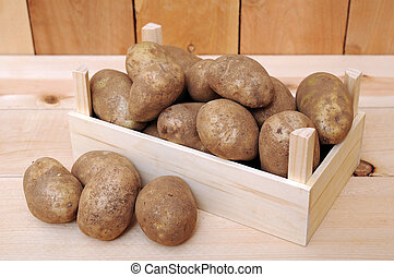 russet potatoes  - a lot of russet potatoes on crate