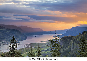 Sunrise Over Crown Point at Columbia River Gorge - Sunrise...