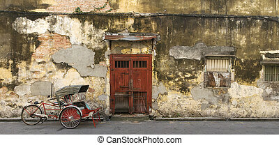 Old Red Door And Trishaw, George Town, Penang, Malaysia -...