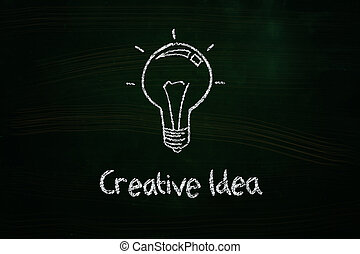 creative idea lightbulb illustration sketched with chalk on...
