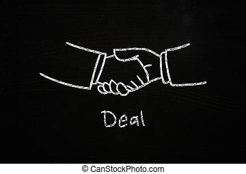 deal handshake illustration sketched with chalk on...