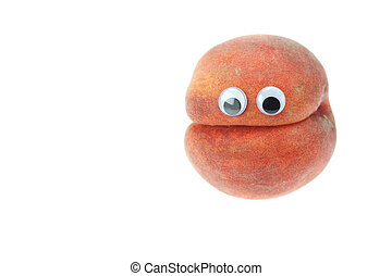Peach with eyes isolated on white