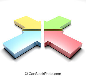 Four arrows - 3d illustration of Shiny four colorful arrows