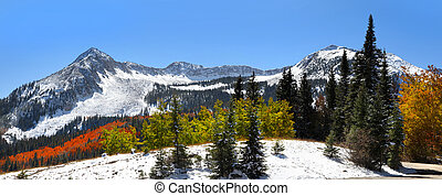Winter in Colorado - Panoramic view of Early winter time in...
