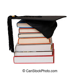 books and educated cap isolated on white