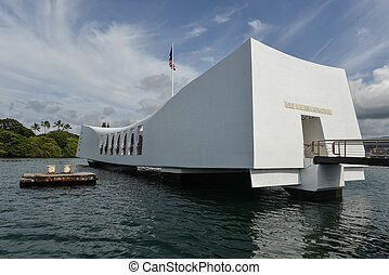 USS Arizona Memorial Pearl Harbor Hawaii. Positioned...
