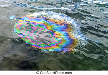 Oil Slick from USS Arizona Memorial Pearl Harbor Hawaii -...