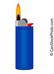 lighter - A blue cigarette lighter with flame