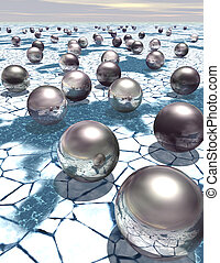 Reflective metal spheres on ice - Reflective metal spheres...
