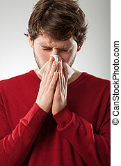 Runny nose - Sick man isolated has runny nose