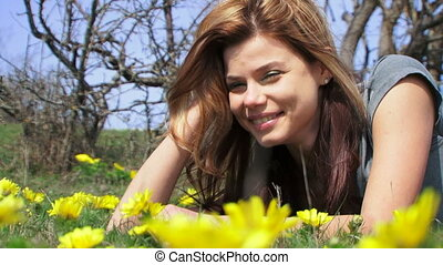 Among yellow flowers