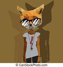 Cute fashion Hipster Animal, pet, vector Eps10 image