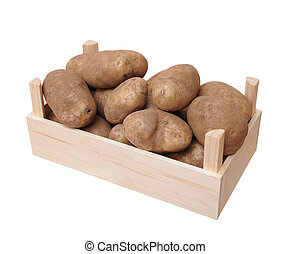 russet potato with crate isolate on white