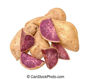purple sweet potato - cutting and whole of purple sweet...