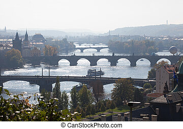 view of the bridges of Prague