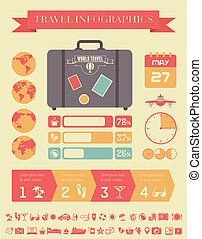 Travel Infographic Template - Flat Infographic Elements plus...