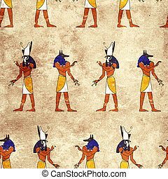 Seamless background with Egyptian gods images - Anubis and...