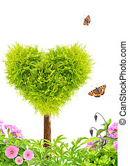 Heart shape tree and flowers. Isolated on white background