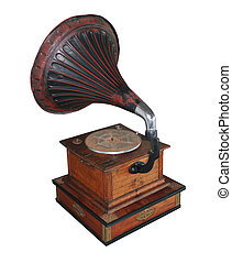 Gramophone - Old gramophone on a white isolated background