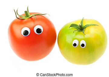 tomato with eyes isolated on white