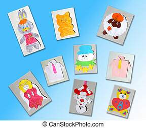 different children's pictures isolated on the light blue...