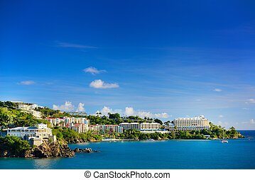 St. thomas, U.S. Virgin Islands - View of the harbor in St....