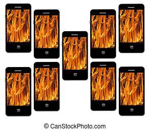 mobile phone with flame on the white background -...