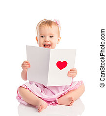 beautiful baby girl with cute valentine postcard with a red...