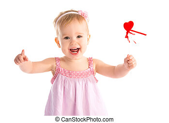 Happy baby girl with red heart isolated on white background