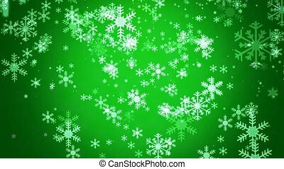 Snowflakes on green background