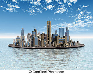 City in the Ocean - Computer generated 3D illustration with...