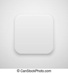 White Abstract Blank App Icon Button Template - White...