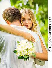 Bride and Groom, Romantic Newly Married Couple Embracing,...