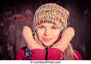 Young Woman Beautiful happy smiling Winter time wearing...