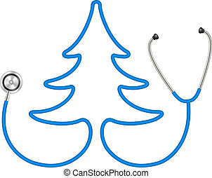 Stethoscope in shape of tree in blue design on white...