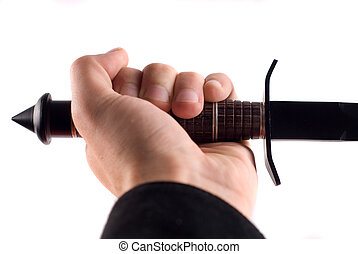 samurai sword - studio shot of man holding samurai sword