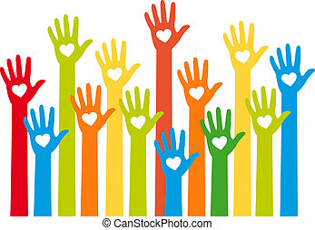 colorful hands with heart, vector - teamwork concept,...