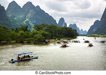 Guilin, China - Beautiful Yu Long river Karst mountain...