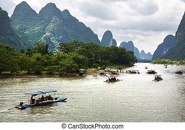 Guilin, China - Beautiful Yu Long river Karst mountain...