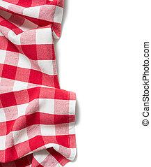vermelho, dobrado, toalha de mesa, isolado, branca