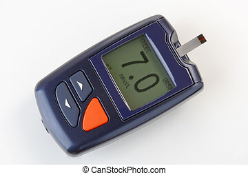 Blood Glucose Monitoring Meter for Diabetes - Close up of a...